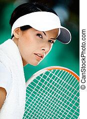 fin, joueur, tennis, haut, professionnel