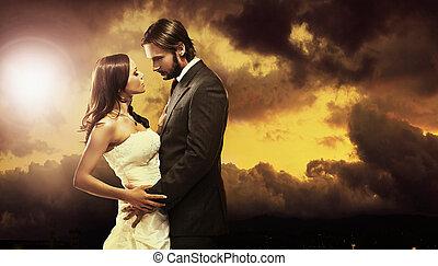 fin kunst, fotografi, i, en, holdning, par bryllup