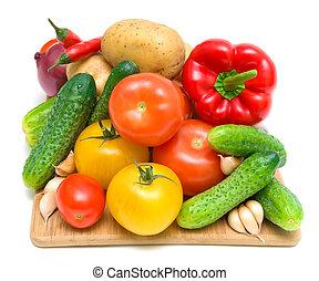 fin, légumes, découper, planche