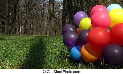 fin, métrage, ballons, outdoors., haut