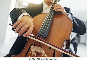 fin, mains haut, violoncelle, player's