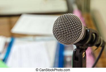 fin, microphone, salle réunion, haut