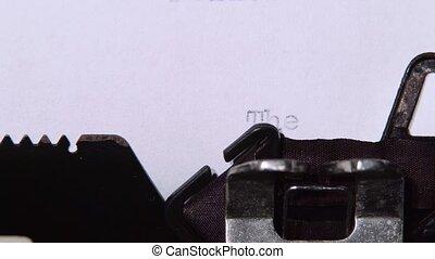 fin, mot, haut, livre, imprimé, fin, typewriter., retro