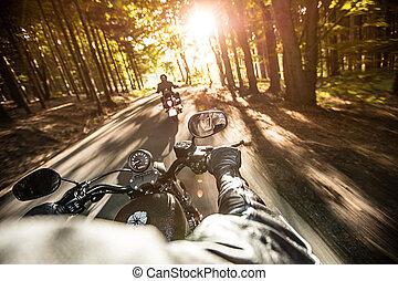 fin, motocyclette, haut