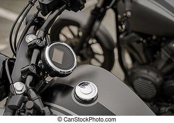 fin, motocyclette, vendange, haut