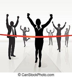 fin, mujer de negocios, corriente, victoria, cruce, línea
