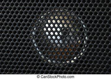 fin, orateur, haut, radio, vue