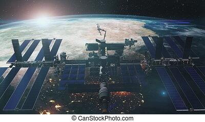 fin, orbiter, réaliste, iss, la terre, planète, haut