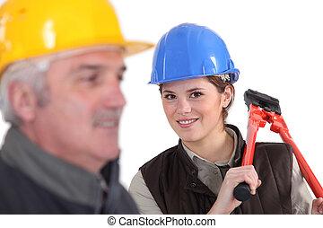fin, ouvriers, construction, haut