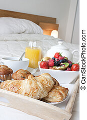 fin, petit déjeuner, haut, lit