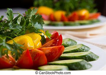 fin, plaqué, salade, coloré, haut