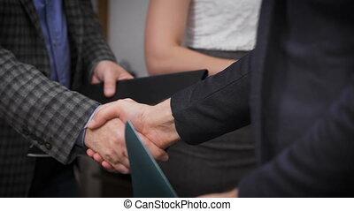 fin, poignée main, bureau affaires, haut