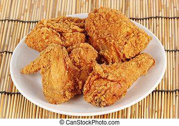 fin, poulet, frit, haut, frais