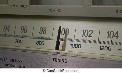fin, retro, amplificateur, scale., receiver., fm, récepteur, échelle, lent, vendange, accord, stations, radio, fréquence, vieux, recherche, haut., analogue, radio., motion.
