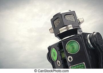 fin, robot jouet, haut