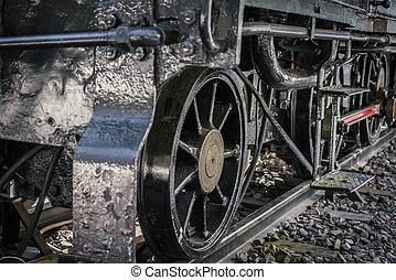 fin, roues,  train, vieux, haut