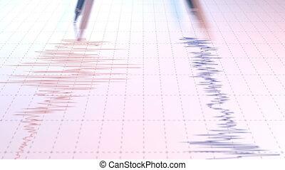 fin, sismographe, vue, deux, arrows.