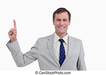 fin, sourire, homme affaires, haut, pointage