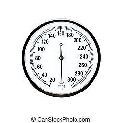 fin, sphygmomanometer, haut, vue