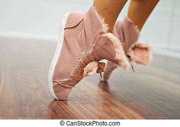 fin, sports, haut, chaussures