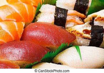 fin, sushi, japonaise, haut