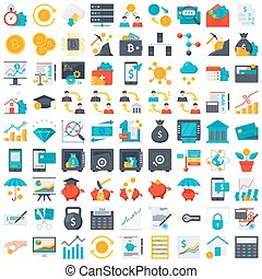 Fin Tech financial technology and finance icons in flat style