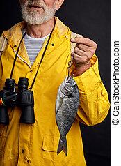 fin, tige, vieil homme, photo., avoirs pêchent, tondu, haut