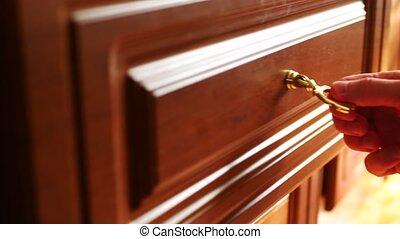 fin, tiroir, main haut, ouverture