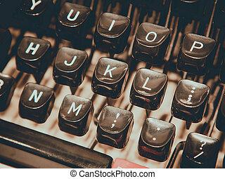 fin, typewriting, façonné, vieux, machine., haut