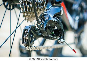 fin, vélo, engrenages, haut