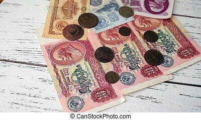 fin, vieux, haut, billet banque, vue