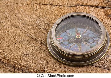 fin, vieux, haut, compass.