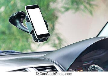 fin, voiture, monté, haut, téléphone