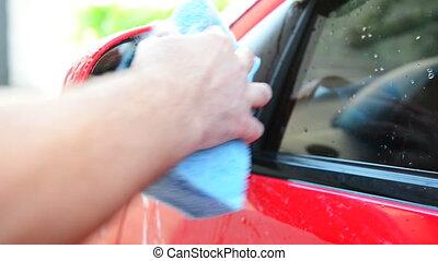 fin, vue, lavage, voiture
