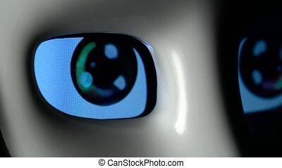 fin, yeux, robot, haut
