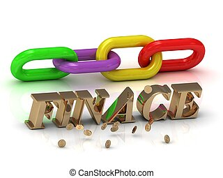 finace-, 碑文, の, 明るい, 手紙, そして, 色, 鎖