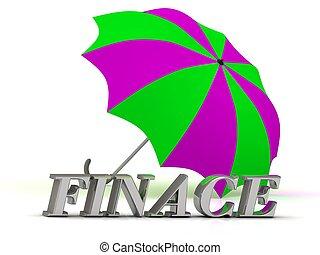 finace-, 碑文, の, 銀, 手紙, そして, 傘