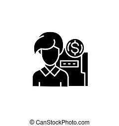 Finacial manager black icon concept. Finacial manager flat vector symbol, sign, illustration.