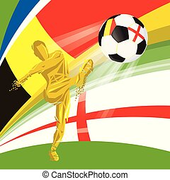 Final 2018 FIFA world cup. Football soccer ball with flags of countries playing in the final Belgium, England