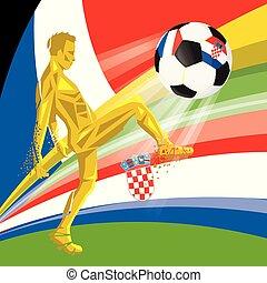 Final 2018 FIFA world cup. Football soccer ball with flags of countries playing in the final France, Croatia