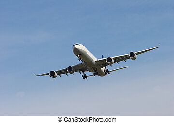 Final Approach - passenger jet coming in for a landing at...