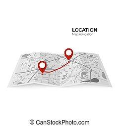 final., carte, route., épinglez point, couleur, parcours, isolé, illustration, vérification, vecteur, arrière-plan noir, indicateurs, navigateur, commencer, blanc rouge, gps