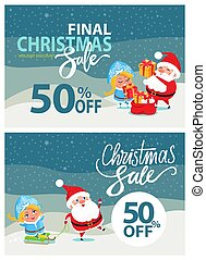 Final Christmas Sale Bbanner Santa Claus Snow Maiden