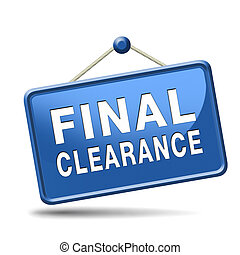 final clearance and big stock sale icon or sign for webshop...