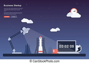 Final countdown - Picture of a space rocket ready to launch,...