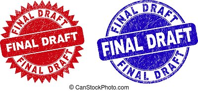 Round and rosette FINAL DRAFT seal stamps. Flat vector textured seal stamps with FINAL DRAFT tag inside round and sharp rosette shape, in red and blue colors. Watermarks with unclean texture,