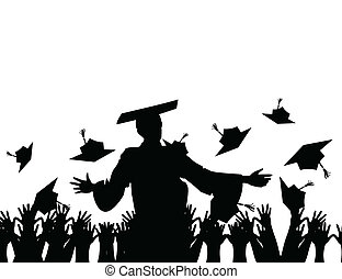 final., escuela, ilustración, vector, discurso, habla, profesor