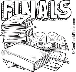 Doodle style final exams illustration in vector format. Includes title text, pile of papers, and books.