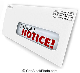 Final Notice Envelope Bill Invoice Past Due Pay Now