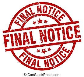 final notice round red grunge stamp